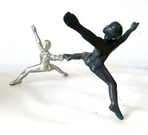 Carbon Pair - a pewter sculpture of two men