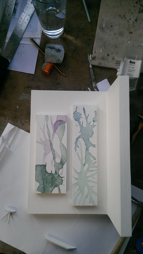 The wall piece will be created using wet inks that dry so as to give a dark outline reminiscent of nerve cell membranes