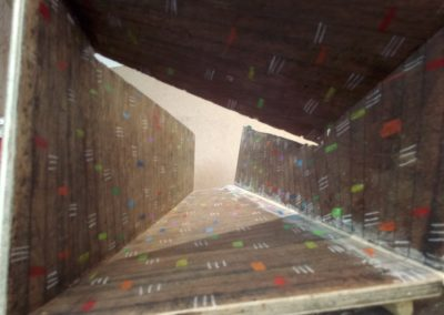 Interior Spaces inside a plywood box used for ramming earth