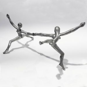 Female Bond: a pewter sculpture of two women holding hands
