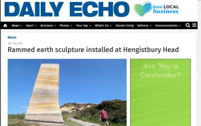 Bournemouth Echo: Rammed earth sculpture installed at Hengistbury Head